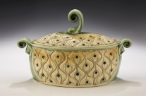 Oval Casserole, light green and tan