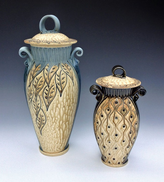 Large and Small Covered Jars