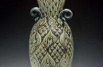 Large Carved Teal Vase