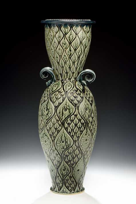 Large Carved Teal Vase Ira Jon Burhans