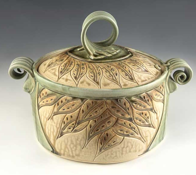 Oval Casserole Light Green with Leaves