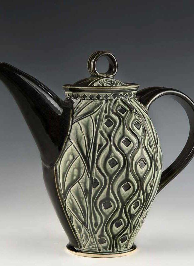 Teapot, Black & Green